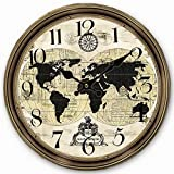 Telisha Wooden Wall Clock World Map Globe Map Brown Clock Retro Vintage Large Clock Home Decorative Country Non -Ticking Silent Quiet 14 Inch Gift For Sale