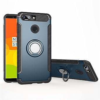 Funda OnePlus 5T Rotativo Ring Mingwei [Con 360 ° Kickstand] Fibra de Carbono Caso [Montaje de Coche Magnético] Carcasa Doble Capa a Prueba de Choque ...