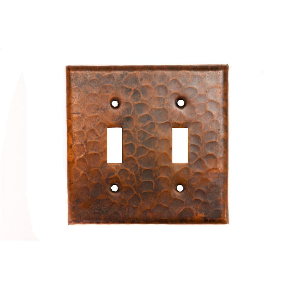 Premier Copper Products ST2 Copper Switch Plate Double Toggle Switch Cover, Oil Rubbed Bronze
