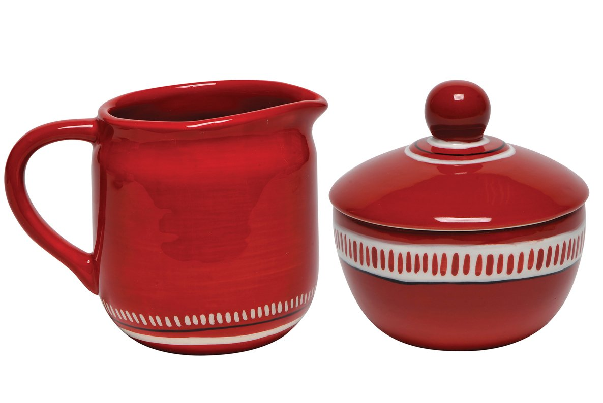Thompson & Elm M. Bagwell Colors Ceramic Sugar and Creamer Set, Red MB825303FARD