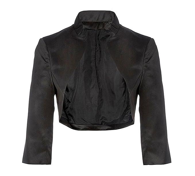 bd2ca5420 Flora BLACK Satin Wedding Shrug Prom Bolero Jacket,3/4 Length Sleeve