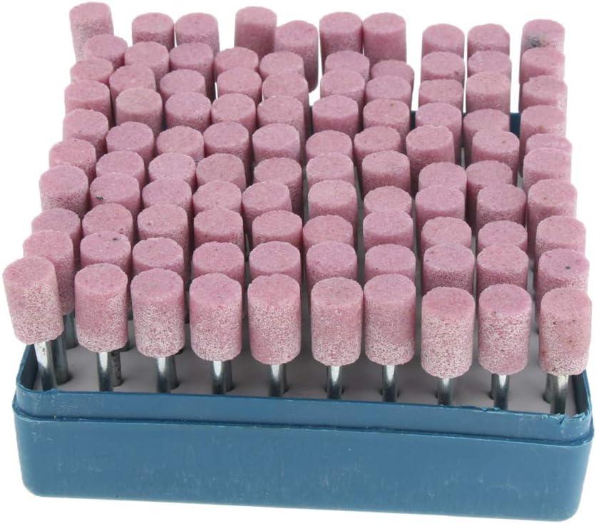 Almencla Outils Rotatifs De Foret De Roue De T/ête De Pierre De Meulage Meule Abrasive 100pcs 10mm violet