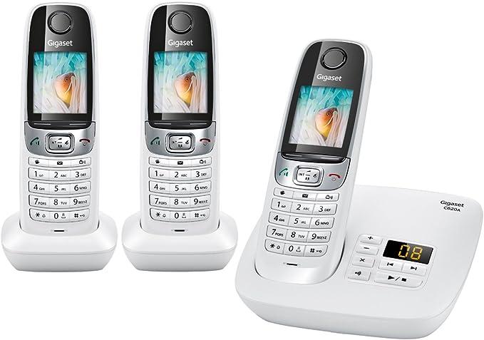 Gigaset C620A Trio - Teléfono fijo digital (inalámbrico), color blanco [Versión Importada]: Amazon.es: Electrónica