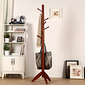 Amazon.com: MEIDUO Garment Clothing Rack Wood Coat Stand 8 ...