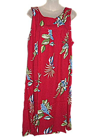 d0ee70feb83 Image Unavailable. Image not available for. Color  HAWAIIAN FLORAL ORCHIDS  RED PLUS SIZE DRESS ...