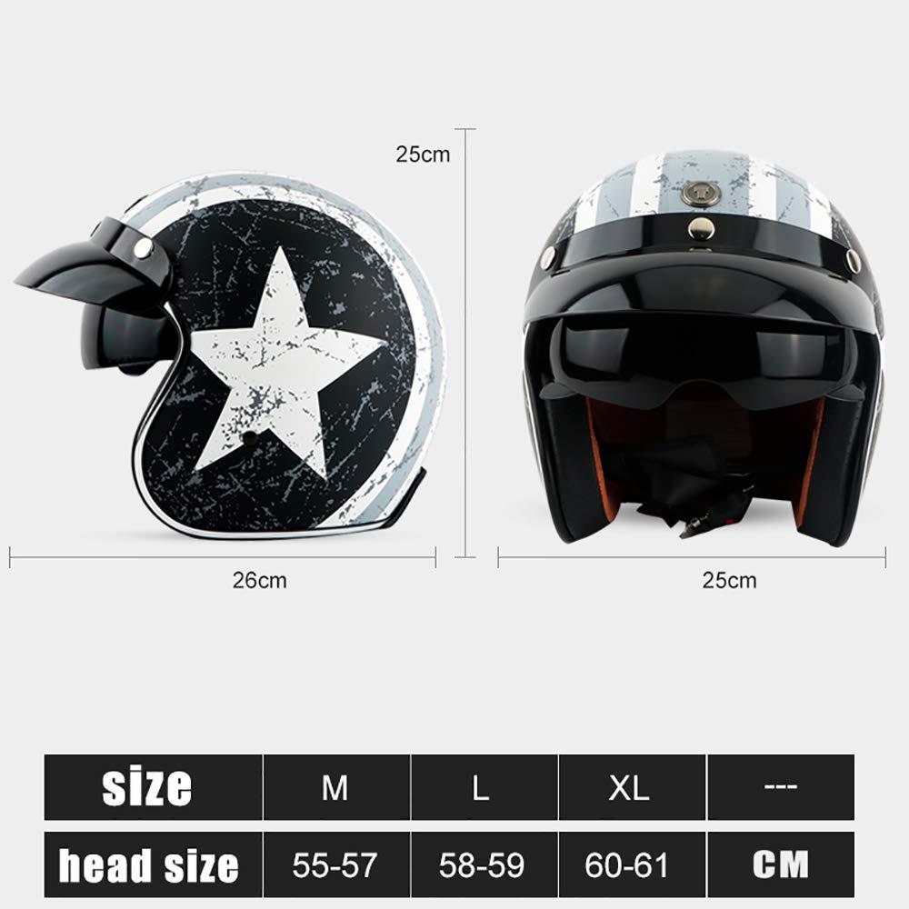 Casco de Moto Abierto Unisex Retro para Adultos con certificaci/ón de Lentes Ocultas//Dot,M Sunzy Casco de Moto Harley