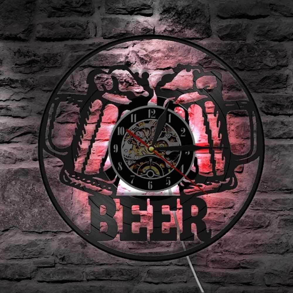 BFMBCHDJ Adorno de Cerveza Colgante de Pared Decoración de Fiesta Reloj Reloj Bar Club Decoración Luz de Noche Cervecería Arte Vinilo Registro Reloj de Pared Regalo para Hombres