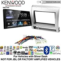 Volunteer Audio Kenwood DMX7704S Double Din Radio Install Kit with Apple CarPlay Android Auto Bluetooth Fits 2005-2011 Non Amplified Toyota Tacoma (Light Silver)