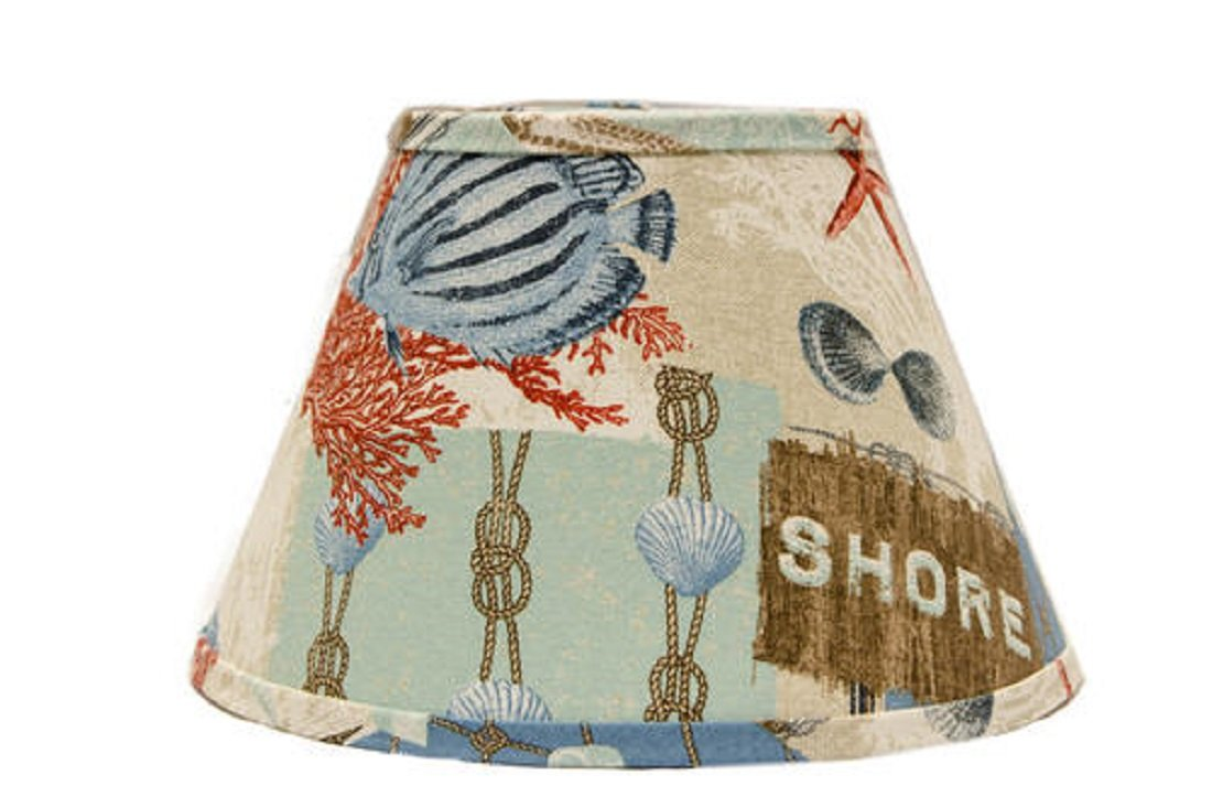 Beach-Inspired Empire Patchwork Lampshade - with regular clip, multi-colored, interior - 5.55'' H