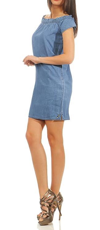Stitch & Soul Damen Mini Jeans Kleid LSS 071 schulterfrei kurz Carmenausschnitt Rüschen
