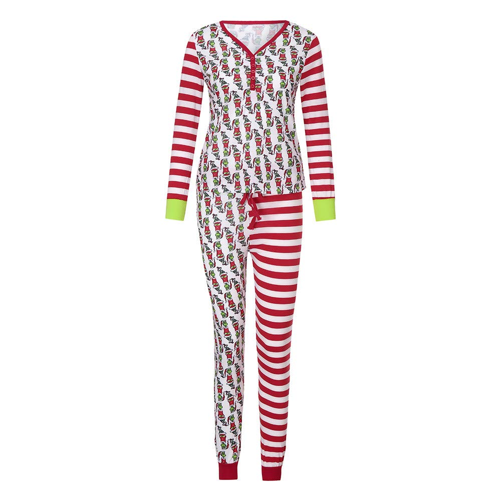 Gufenban Family Matching Xmas Pajamas Set Women Kid Dad Adult Striped PJs Fun Sleepwear Nightwear Girls-Boys-Multicolor,10 Years