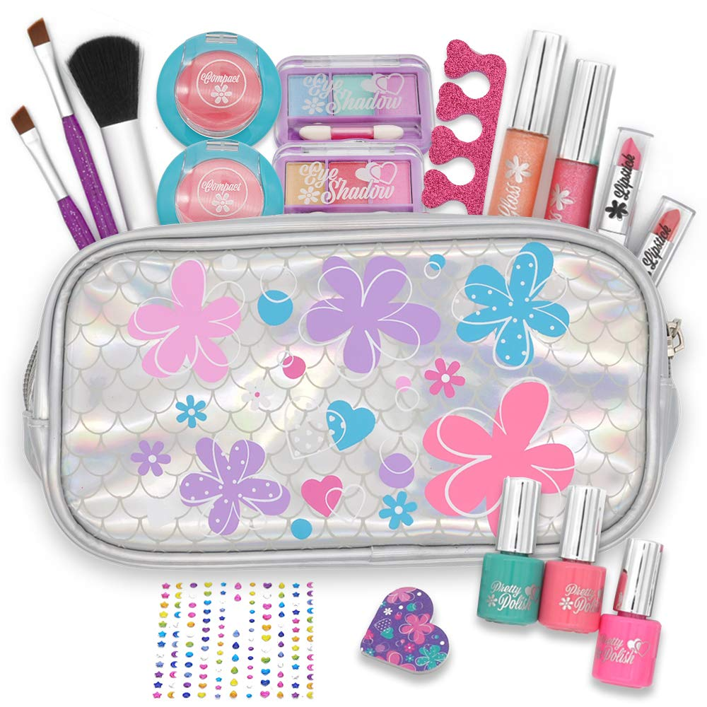 JOYIN 18 Pieces Pretend Makeup Deluxe Kit for Girls Play |Safe & Non-Toxic; Easy On & Easy Off | for Kids Make Up Play, Girl Birthday Gift Set, Girl Friday Party Night, Party Favors.