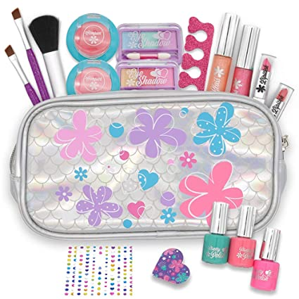 JOYIN 18 Pieces Pretend Makeup Deluxe Kit for Girls Play |Safe & Non-Toxic