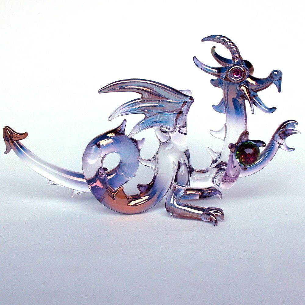 Dragon Medieval Figurine of Hand Blown Glass by Prochaska Gallery