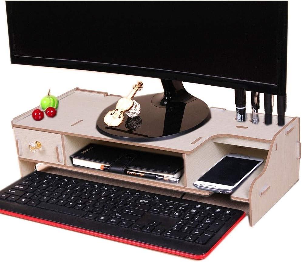 Desktop Monitor Wooden Stand Computer Desk Organizer with Keyboard Mouse Storage Slots Color : Oak Black