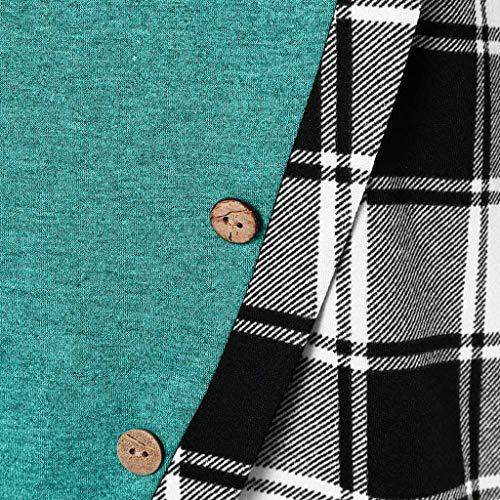 Irregolare Ragazza Con Blouse Magliette Beladla Verde Bluse Stampa Collo Camicetta Scozzese Casual Da Maglietta Blusa Abbigliamento Lunghe Lungo Alto Donna Manica Camicia Tops A Lunga Top Maniche Elegante FnzUWwRqF