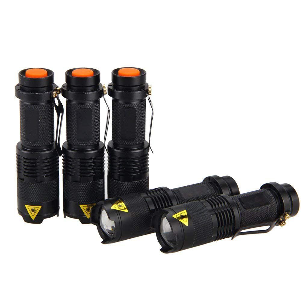 5 Pack SK68 Tactical and Small Flashlights,7w 3-Mode Pocket Torch Adjustable Focus Zoom Light Lamp Anekim