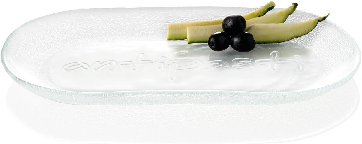 Antipastiplatte B//H//T LEONARDO : 350//23//190mm hochwertiges Klarglas -