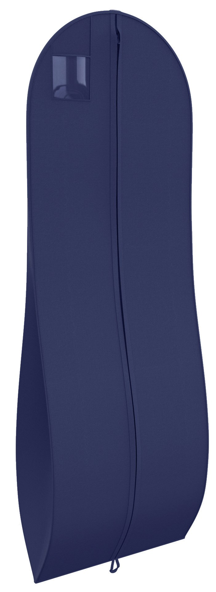 "Gusseted Gown Garment Bag for Women's Prom and Bridal Wedding Dresses - Travel Folding Loop, ID Window- 72"" x 24"" with 10"" Tapered Gusset - Navy - by Your Bags"