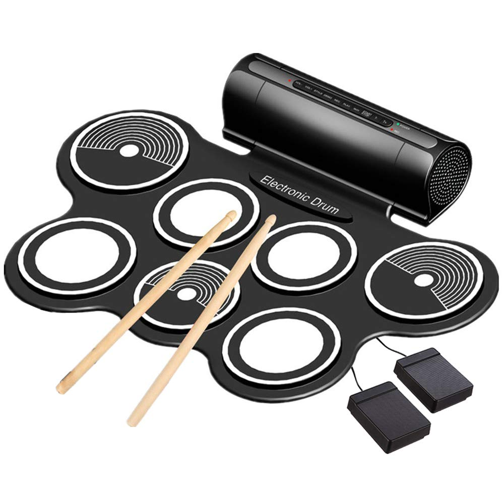 Electronic Drum Set for Kids Roll Up Beginner Drum Set Practice Drum Pad USB MIDI Built in Speaker Drum Pedals Musical Instrument Little Drummer Gifts by Ansee