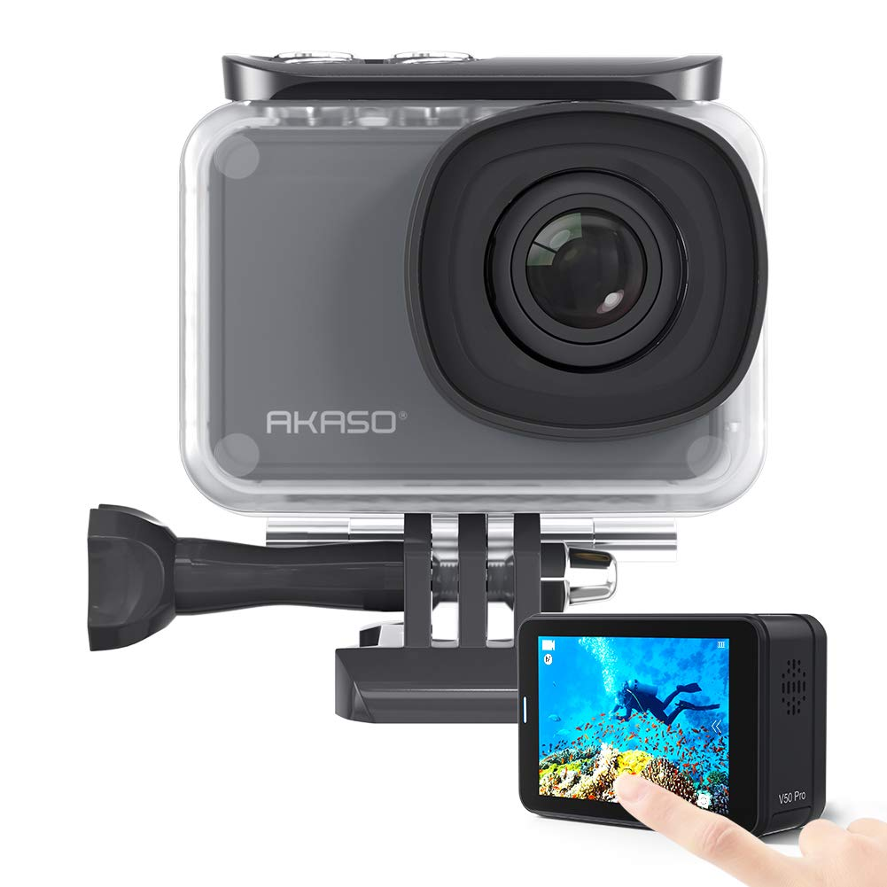 AKASO V50 Pro Native 4K30fps 20MP WiFi Action Camera with EIS Touch Screen 100 feet Waterproof Camera Support External Mic Remote Control Sports Camera with Helmet Accessories Kit by AKASO        2 VIDEOS AKASO V50 Pro Native 4K30fps 20MP WiFi Action Came