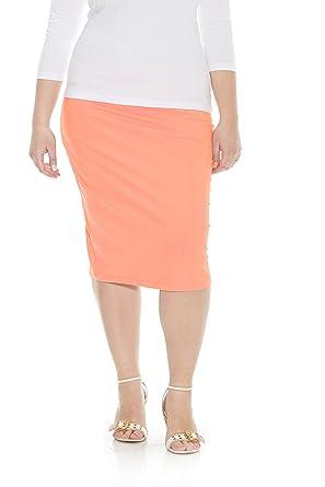 95e5846dd5 Esteez Womens Plus Size Skirt Cotton Spandex Knee Length Dallas Apricot 1X
