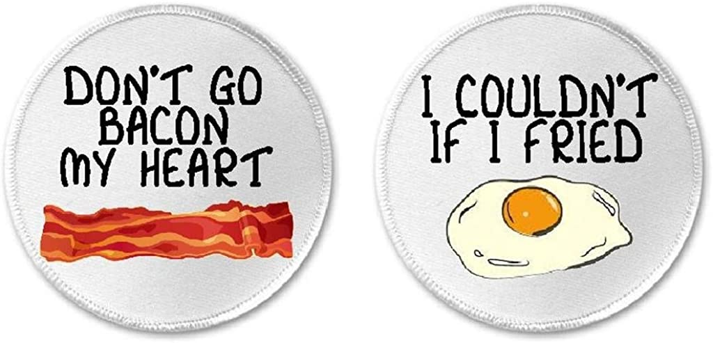 "Set of 2 Don't Go Bacon Heart Couldn't If I Fried Eggs 3"" Sew/Iron On Patches"