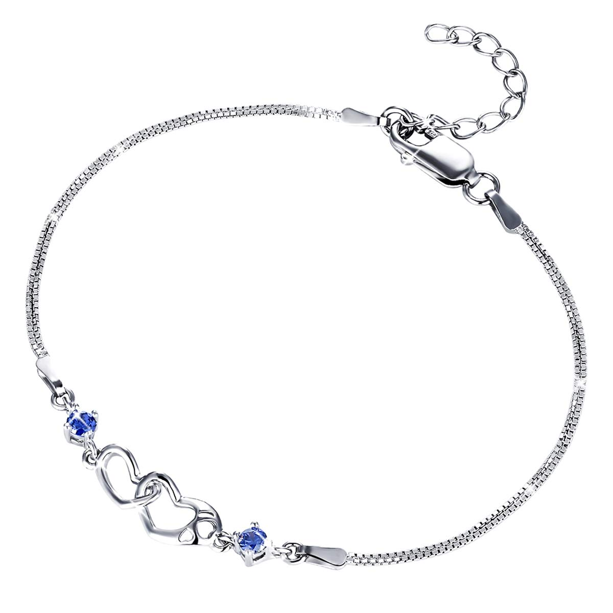 MUATOGIML 925 Sterling Silver Blue Infinity Endless Love Double Heart Bracelet Jewelry for Women Girls, 18'' Box Chain