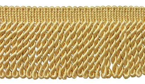 7 Yard Pack - 3 Inch Long LIGHT GOLD Bullion Fringe Trim, Style# BFS3 Color: B7 (21 Ft / (Gold Bullion Fringe)