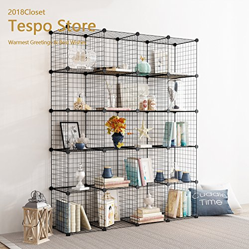 Tespo Metal Wire Storage Cubes, Modular Shelving Grids, DIY Closet Organization System, Bookcase, Cabinet, (20 - Regular Cube)
