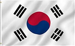 Anley Fly Breeze 3x5 Foot South Korea Flag - Vivid Color and Fade Proof - Canvas Header and Double Stitched - S Korean National Flags Polyester with Brass Grommets 3 X 5 Ft