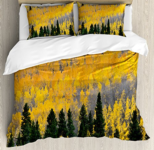 Ambesonne Fall Duvet Cover Set King Size, Colorful Aspen Forest in Colorado Rocky Mountains Western Wilderness USA Theme, Decorative 3 Piece Bedding Set with 2 Pillow Shams, Green Yellow ()