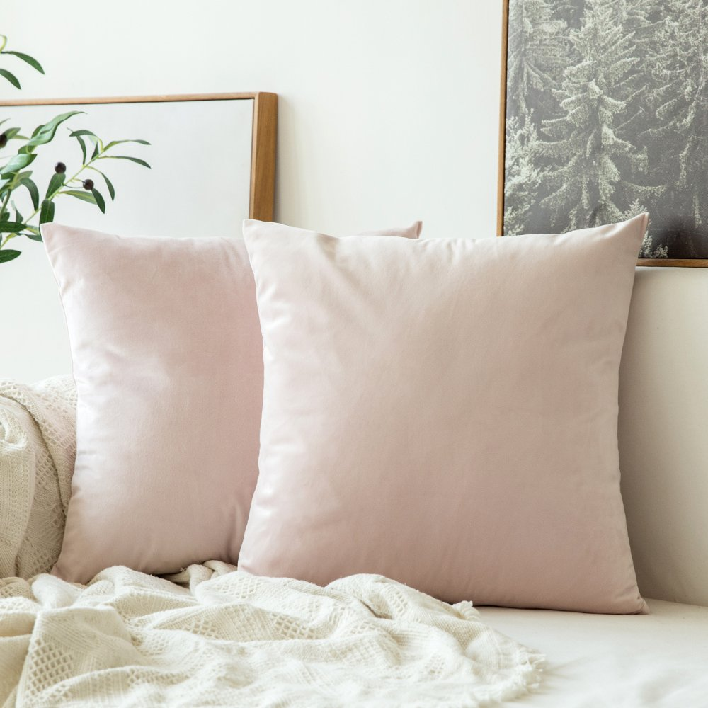 MIULEE Pack of 2 Velvet Soft Soild Decorative Square Throw Pillow Covers Set Cushion Case for Sofa Bedroom Car 16 x 16 Inch 40 x 40 Cm Pink