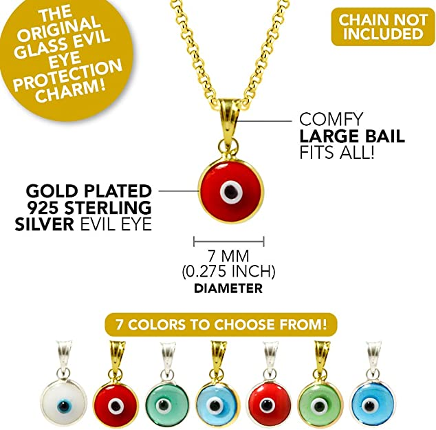 AMM-15 925 Sterling Silver Evil Eye Charm with synthetic stone.