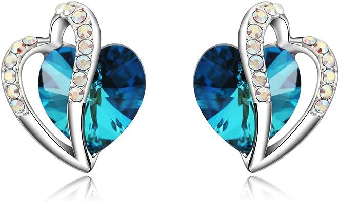 14mm corazón Collar Hecho Con Cristal Swarovski Corazón elección de colores