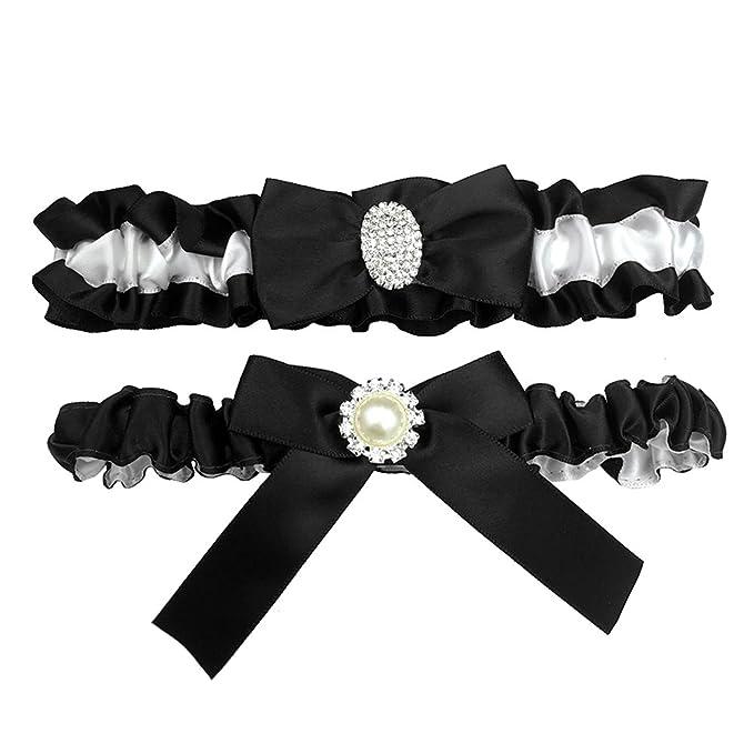 6692899ef Kirmoo Bridal Garter Belt Set Royal Blue and White Wedding Keepsake Toss  Garters (Black and