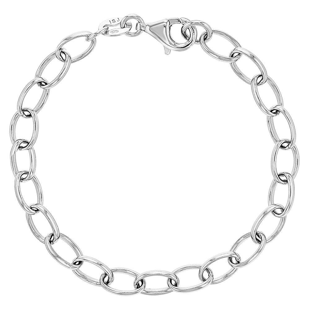 925 Sterling Silver Charm Bracelet Classic for Girls Kids Children 6 In Season Jewelry SS-02-00042