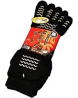 【SR925】「踏ん張りがきく!すべり止め付五本指ショートソックス」仕事やスポーツに メッシュで蒸れず快適 黒2組 24.5~27