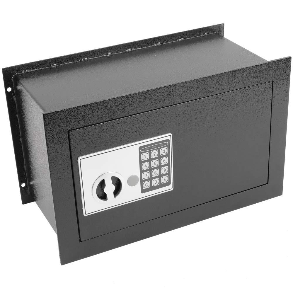 PrimeMatik Versenkt Wandtresor Stahl Elektronischer Code Mauertresor M/öbeltresor 40x20x25cm schwarz