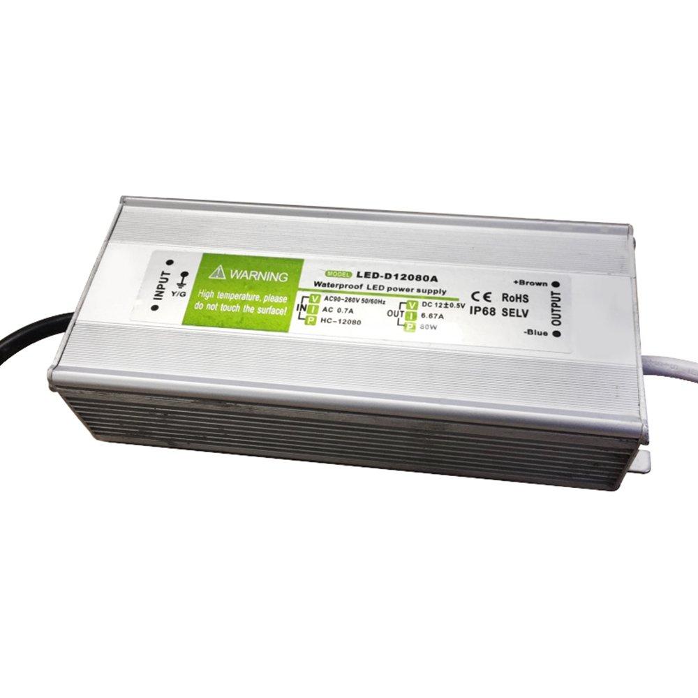 G W S® Aluminium IP68 Waterproof DC 12V 80W Max LED Driver