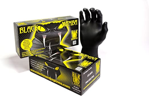 Black Mamba Gloves 100 Pack Medium  NITREX® polymer super strong 6.0 mils