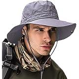 サファリハット メンズ ハット 帽子 つば広 大きいサイズ 速乾・軽薄・通気性抜群・紫外線対策・折りたたみ あご紐付き アウトドア 釣り ハイキング 登山 レディース 男女兼用