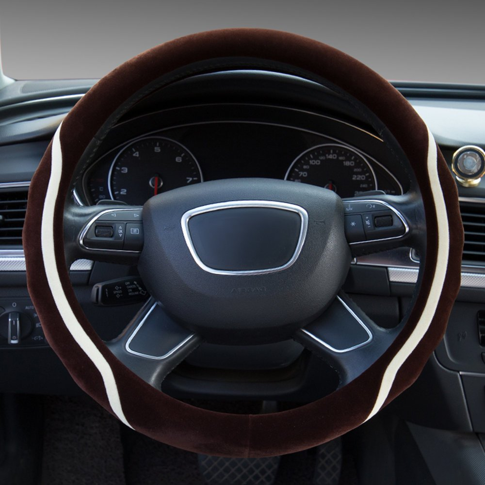 Dee-Type Gray Universal Plush Steering Wheel Cover 38cm (15 Inch) Other Color Inside