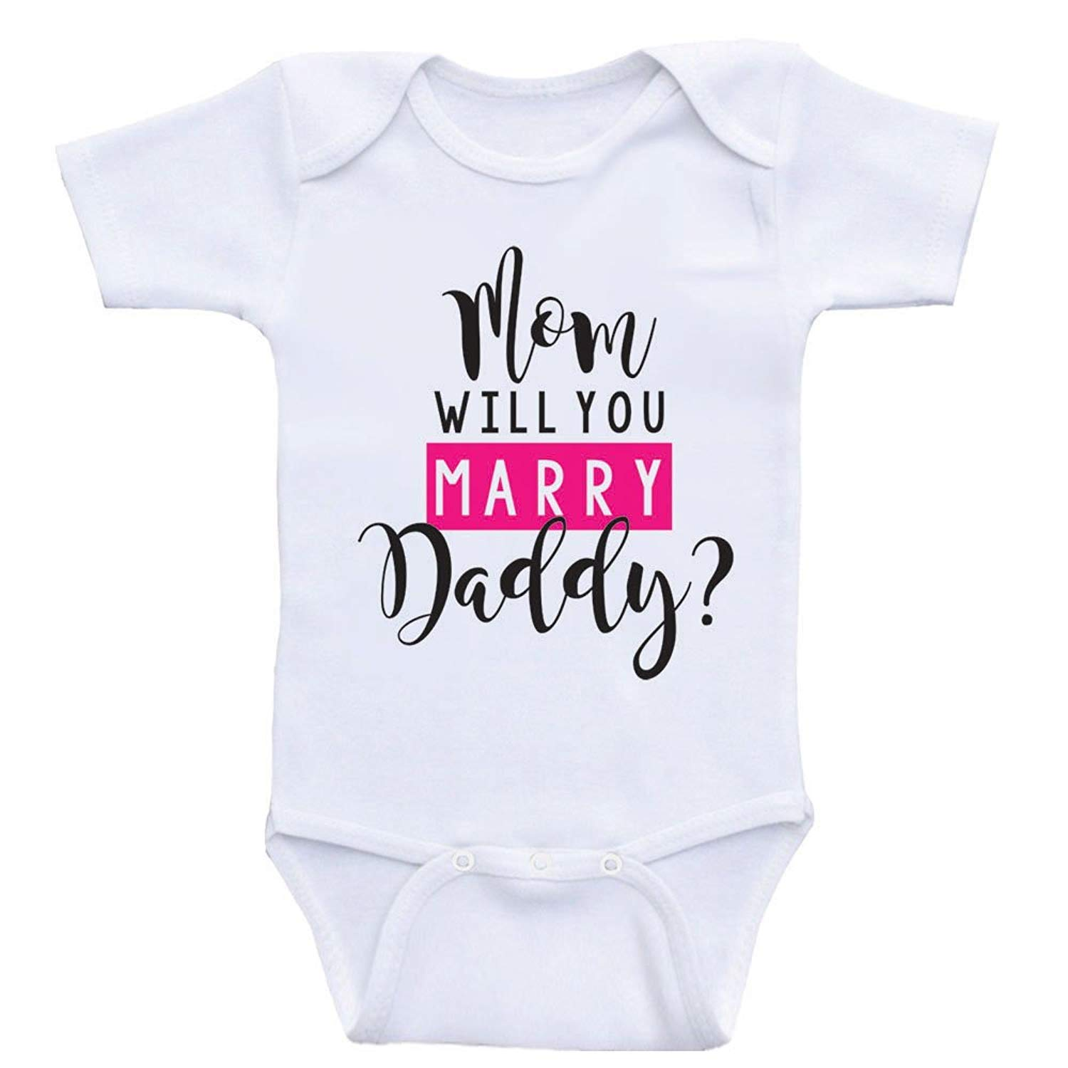 Proposal Funny Baby Jumpsuit One Piece Unisex qidushop Mom Will You Marry Daddy