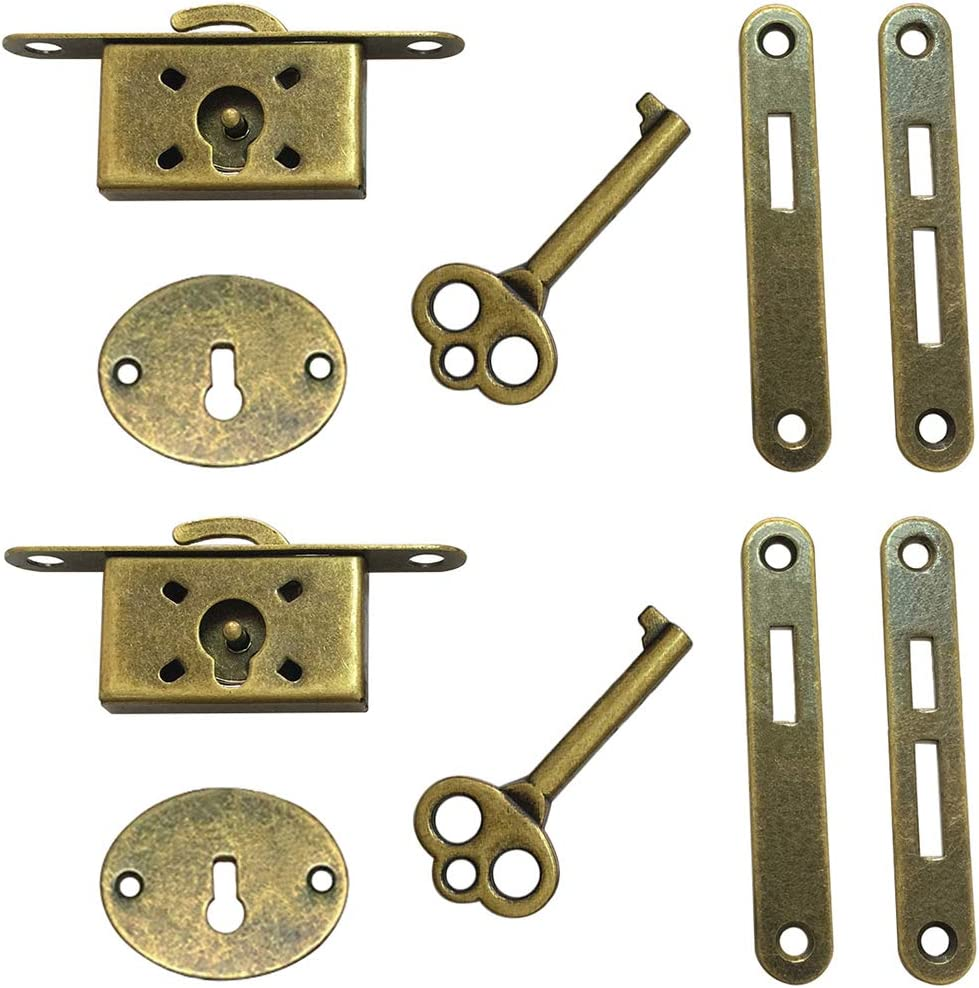 Geenite Retro Lock Antique Red Wooden Case Locks for Cupboard Jewelry Box Decorative Latch Cabinet Furniture Locks with Key 2 Pack