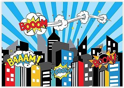 Allenjoy 7 X 150 Photography Hintergrund Superheld City Super Moon Night Building Kinder Geburtstag Party Event Banner Foto Studio Booth Hintergrund Baby Dusche Fototermin Stil 7 7ft By 5ft Küche Haushalt