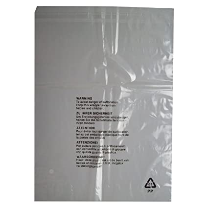 aaa547d43557 50 CLEAR TRANSPARENT PLASTIC SELF SEAL GARMENT CLOTHING RETAIL PACKAGING  BAGS SAFETY WARNING LARGE SIZE 12x15 quot