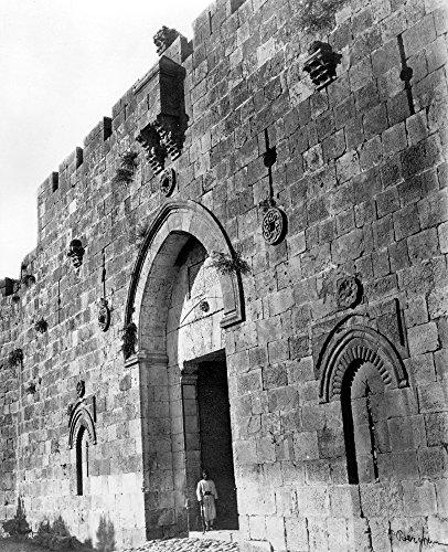 Zion Gate Jerusalem - Jerusalem Zion Gate Na View Of The Zion Gate Jerusalem Photographed By P Bergheim C1860-80 Poster Print by (24 x 36)