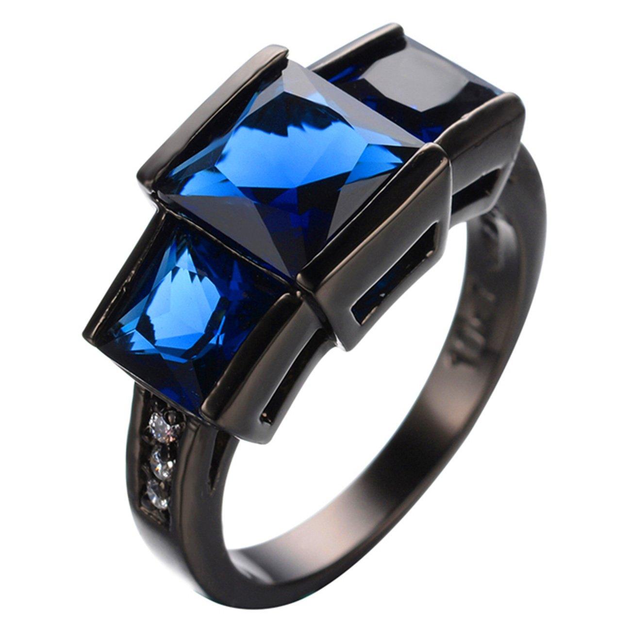 JBL Promise Top Quality Blue Zircon Black Gold Filled Vintage Party Finger Engagement Wedding Ring