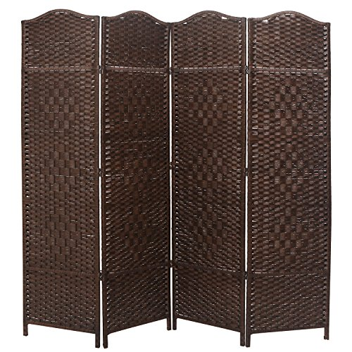 MyGift 6-ft Tall Extra Wide Diamond Weave Fiber 4 Panel Room Divider, Woven Screen Partition, Brown